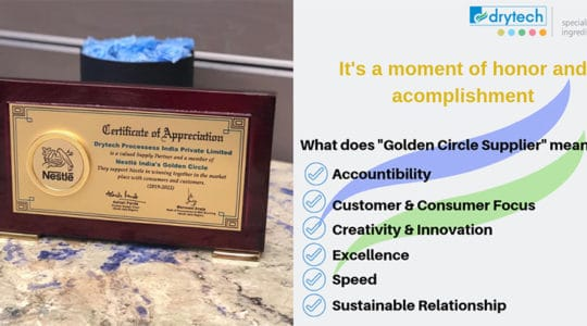 Award received from Nestle
